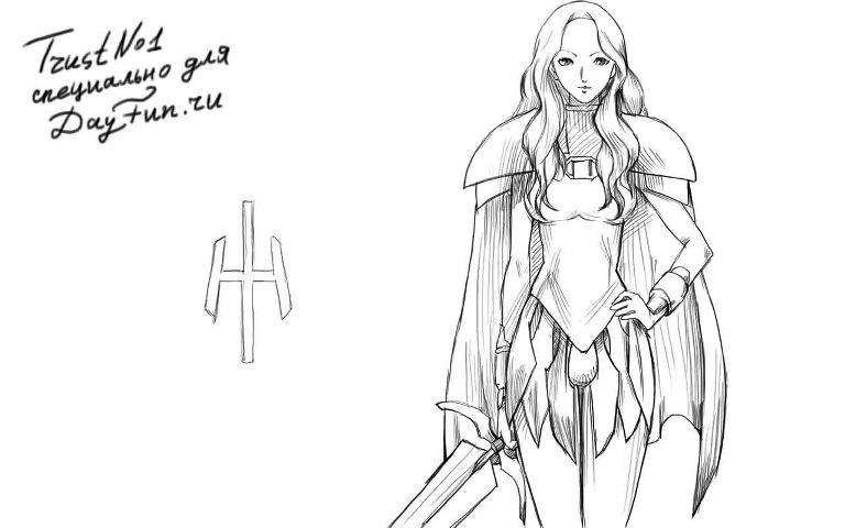 Рисунок карандашом девушка воин 021
