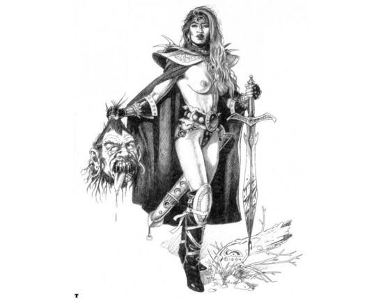 Рисунок карандашом девушка воин 022