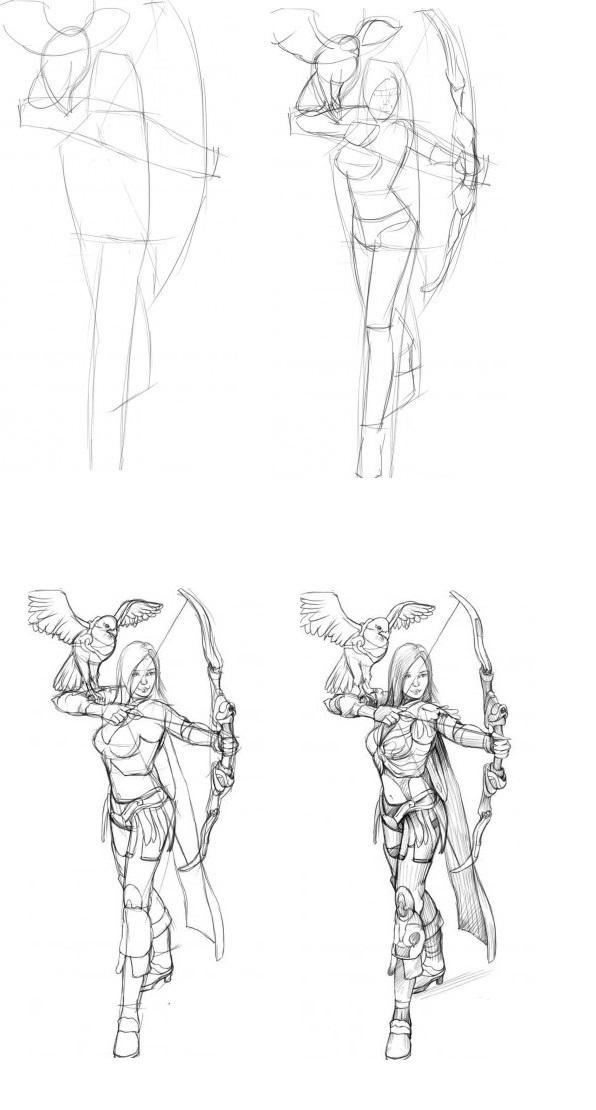 Рисунок карандашом девушка воин 023