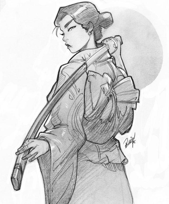 Рисунок карандашом девушка воин 024