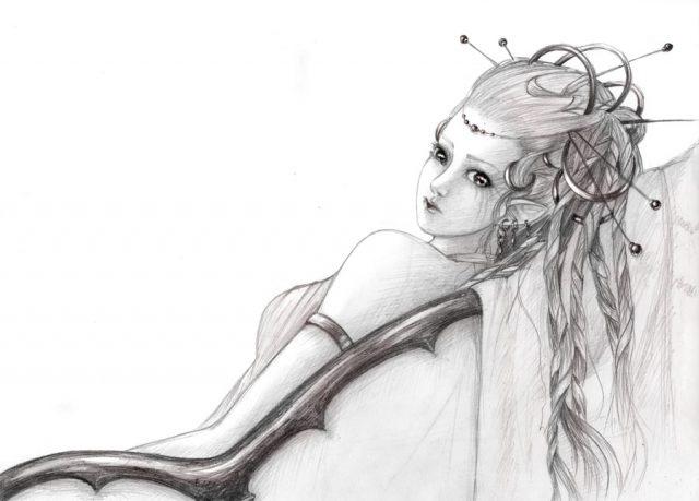 Рисунок карандашом девушка воин 025