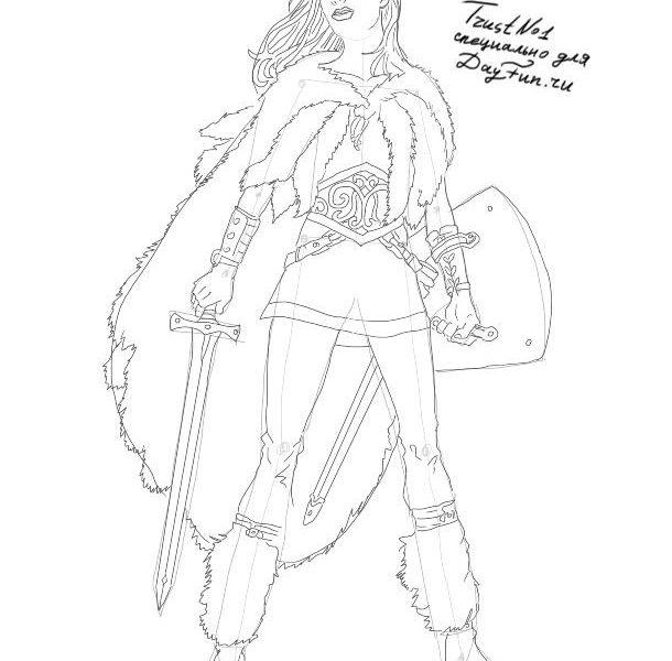 Рисунок карандашом девушка воин 026