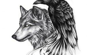 Эскиз татуировки волка 027