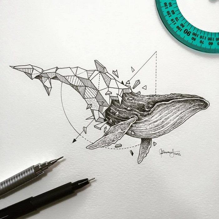 Красивые геометрические рисунки ручкой 003