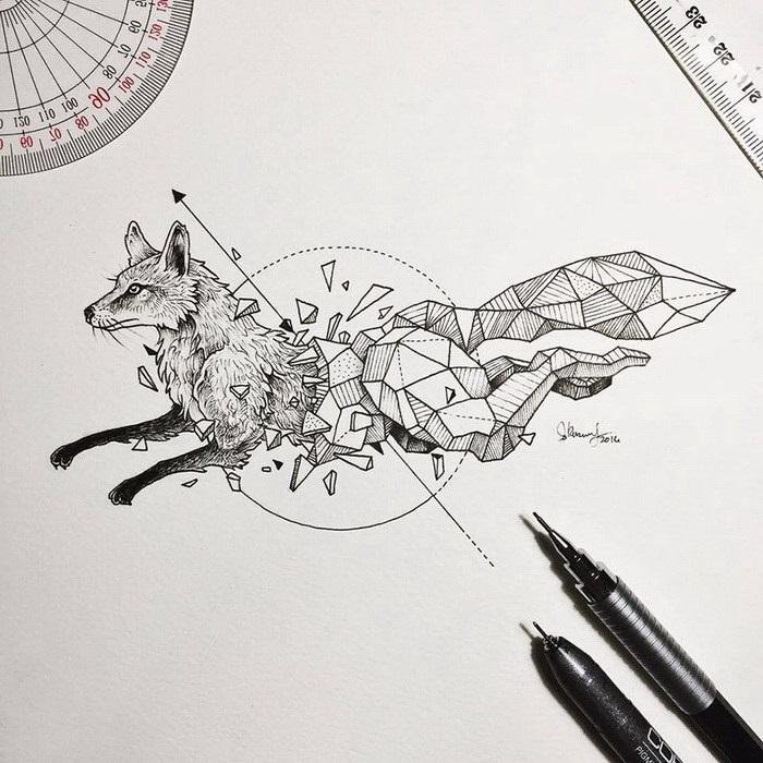 Красивые геометрические рисунки ручкой 004