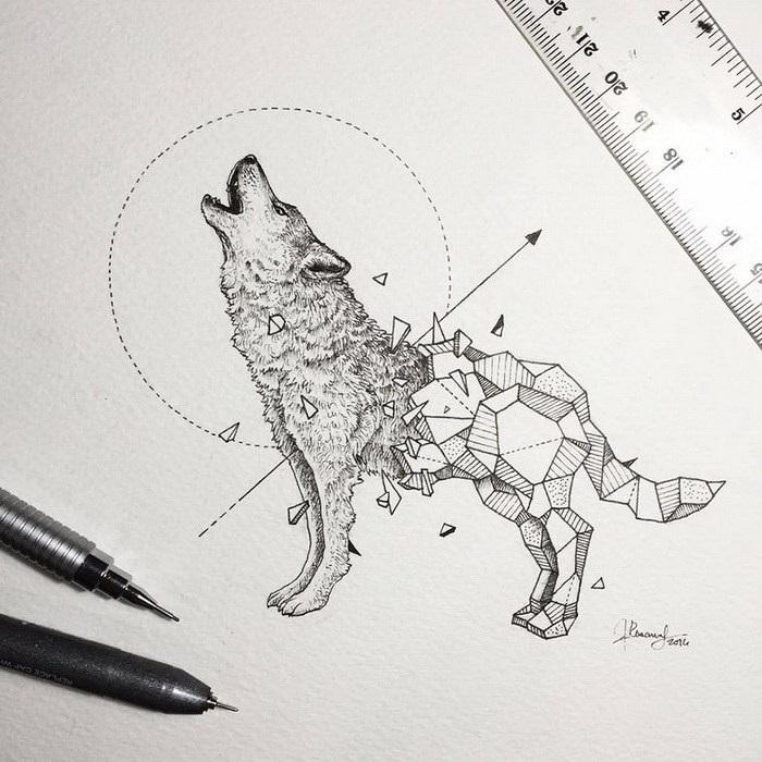 Красивые геометрические рисунки ручкой 006