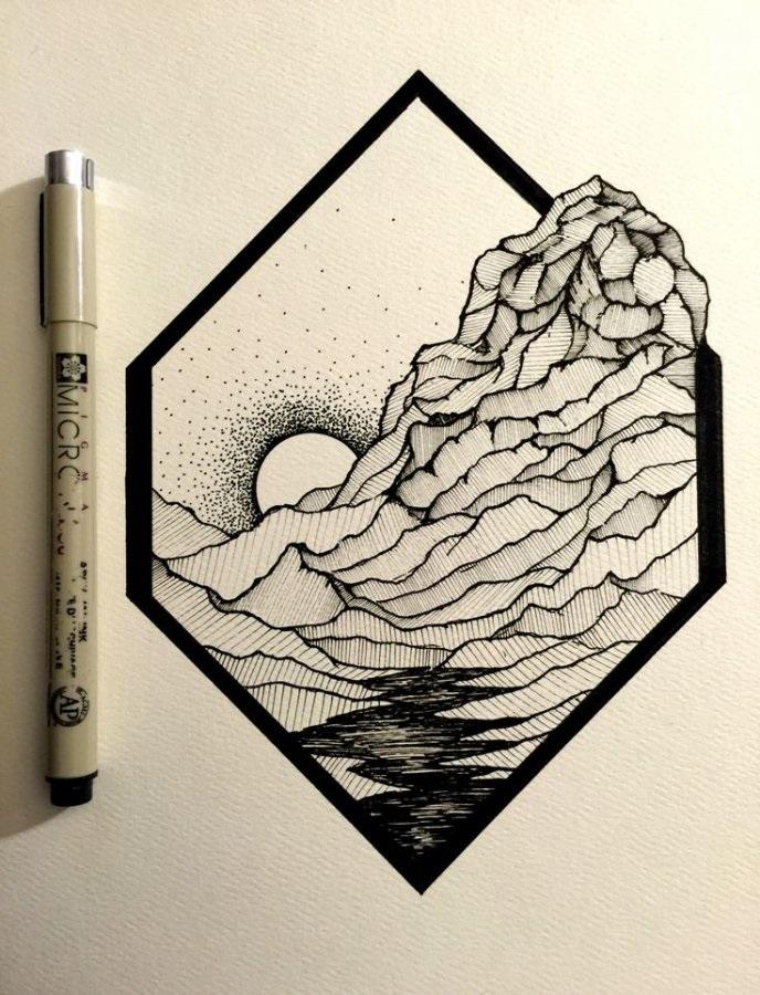 Красивые геометрические рисунки ручкой 012