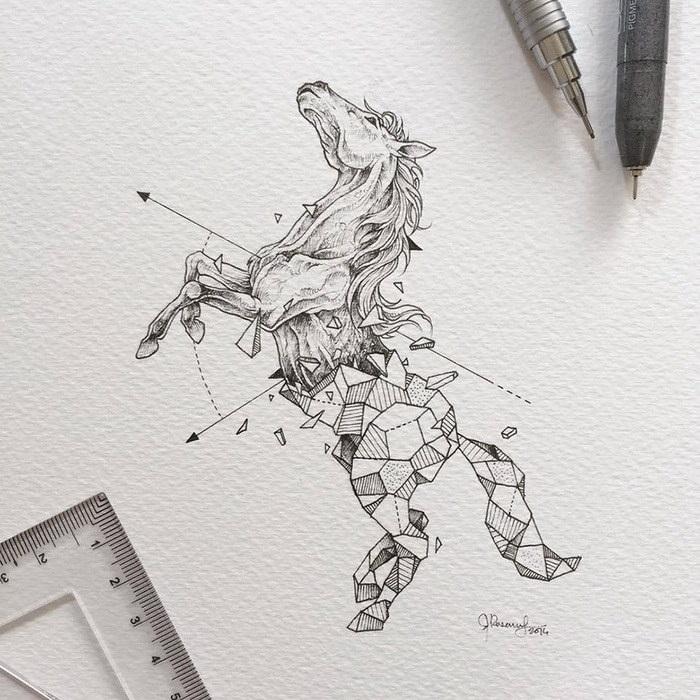 Красивые геометрические рисунки ручкой 013