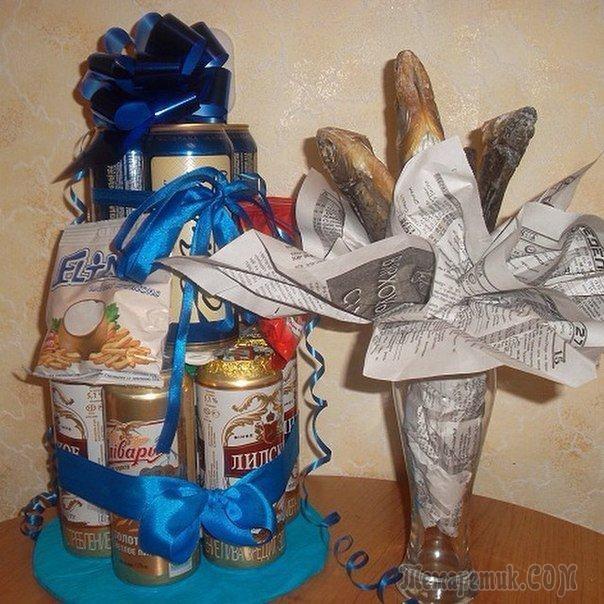 Прикольный торт из пива на день рождение для мужа 004