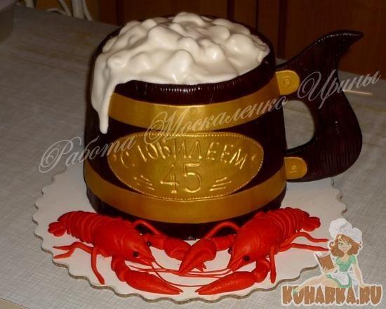 Прикольный торт из пива на день рождение для мужа 005