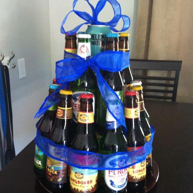 Прикольный торт из пива на день рождение для мужа 008
