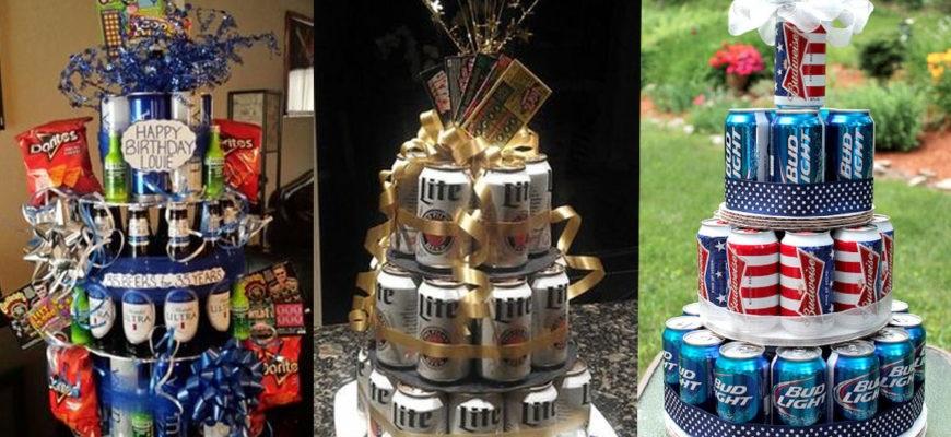 Прикольный торт из пива на день рождение для мужа 013