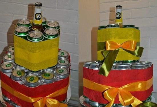 Прикольный торт из пива на день рождение для мужа 020