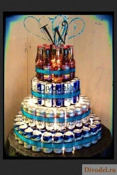 Прикольный торт из пива на день рождение для мужа 022