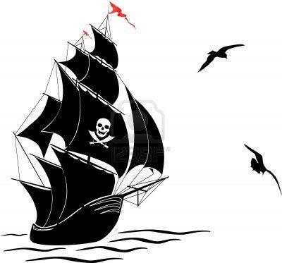 Черно белый рисунок кораблика 001