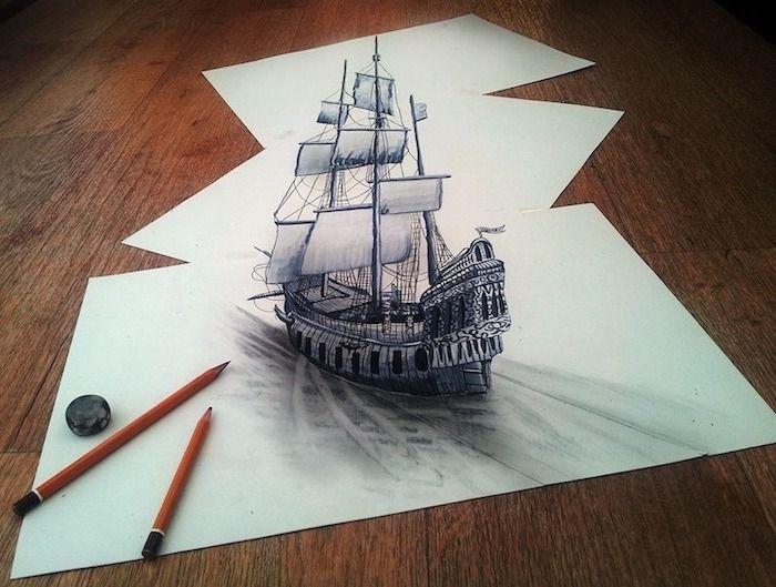 Черно белый рисунок кораблика 002