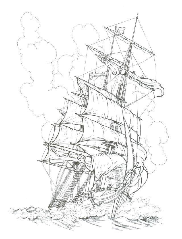 Черно белый рисунок кораблика 003