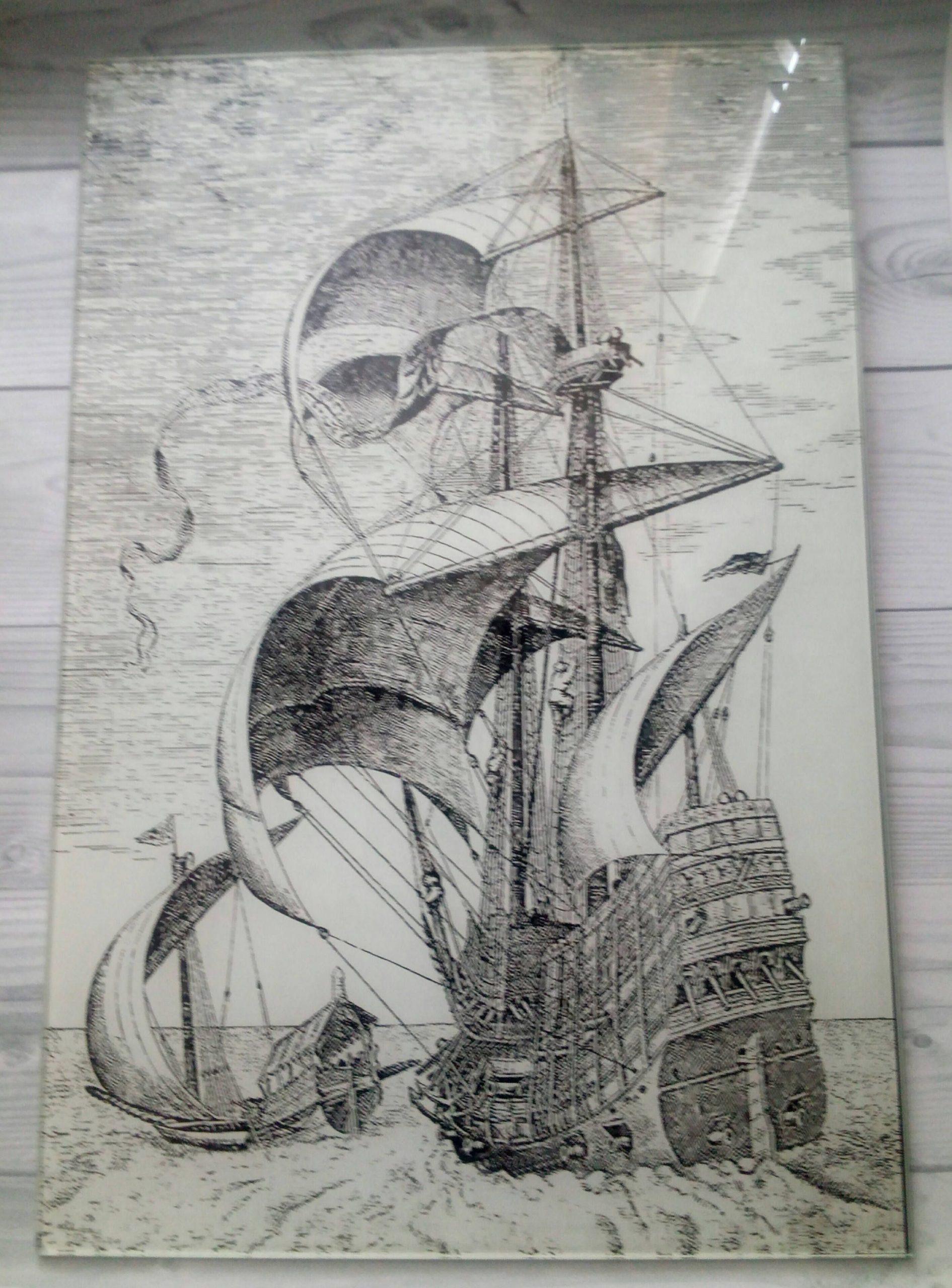 Черно белый рисунок кораблика 005