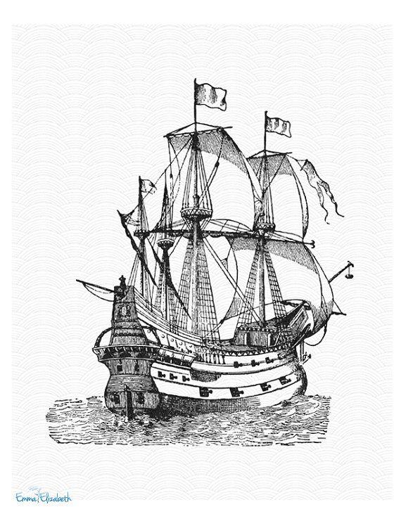 Черно белый рисунок кораблика 006