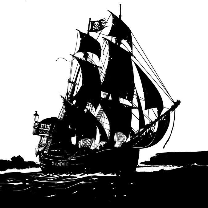Черно белый рисунок кораблика 008
