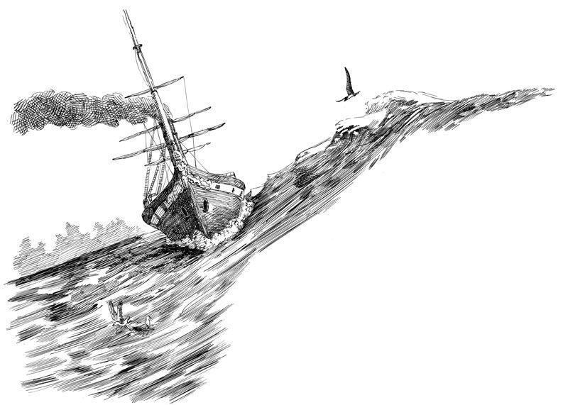 Черно белый рисунок кораблика 009