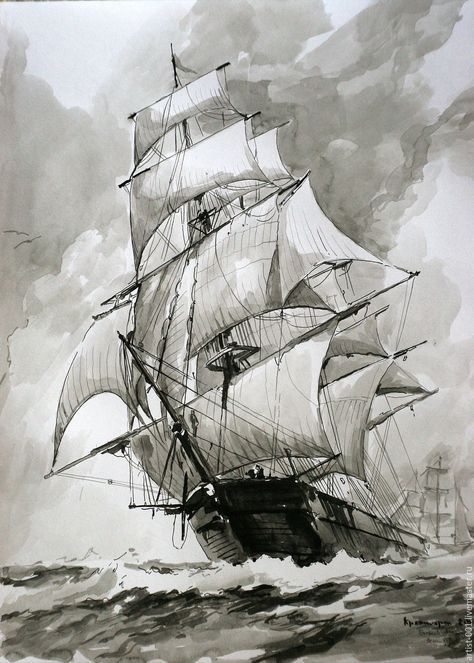 Черно белый рисунок кораблика 010