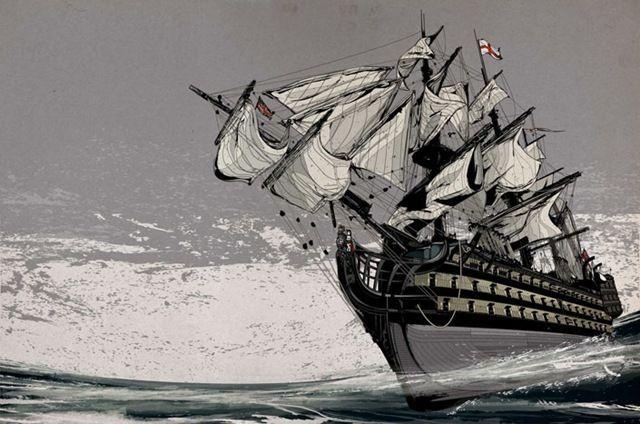 Черно белый рисунок кораблика 011