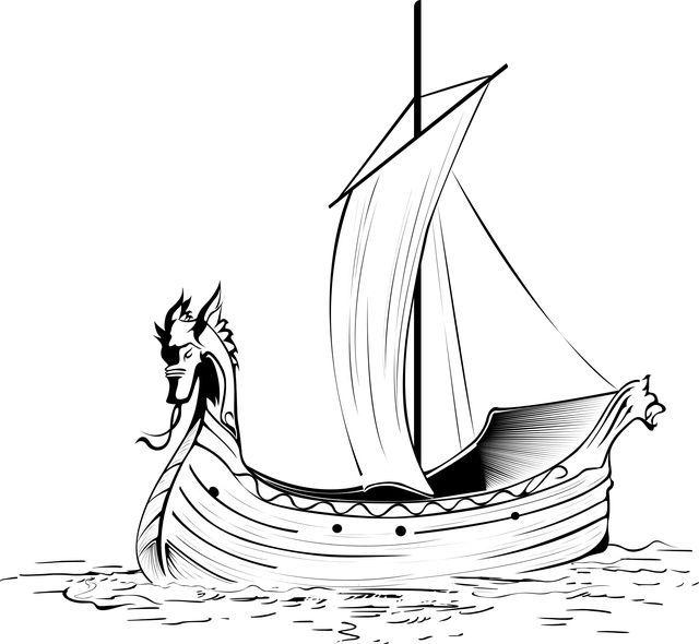 Черно белый рисунок кораблика 012