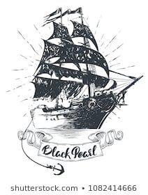 Черно белый рисунок кораблика 017