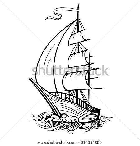 Черно белый рисунок кораблика 018