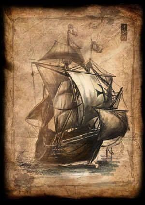 Черно белый рисунок кораблика 019