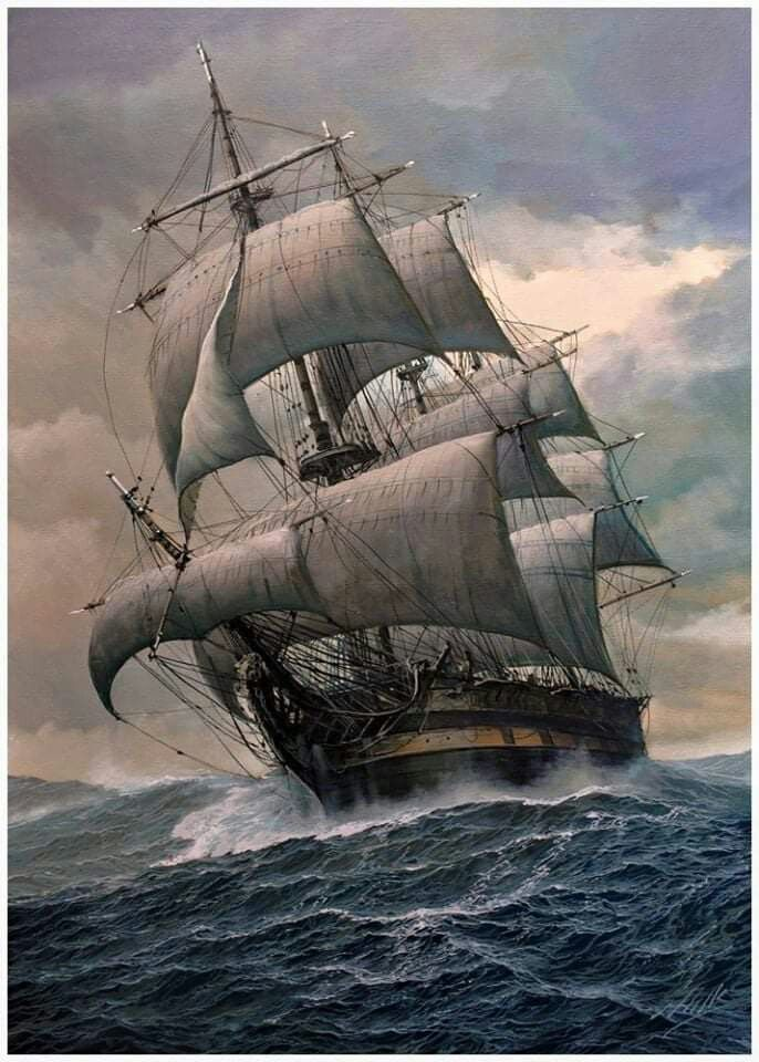 Черно белый рисунок кораблика 021