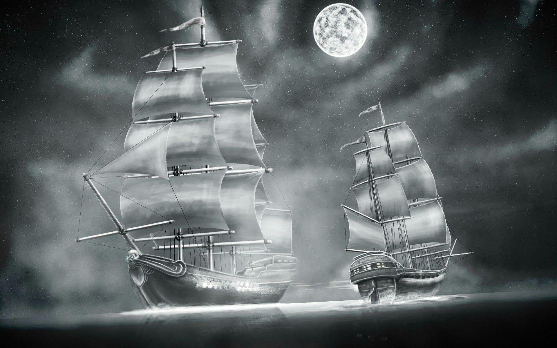 Черно белый рисунок кораблика 022