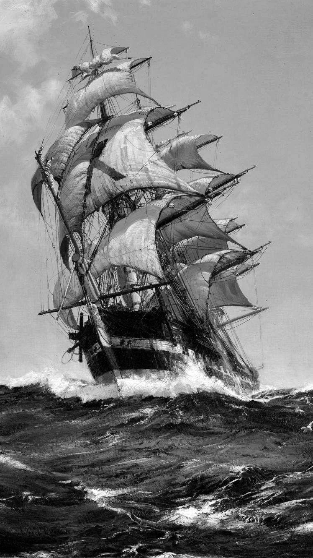 Черно белый рисунок кораблика 023