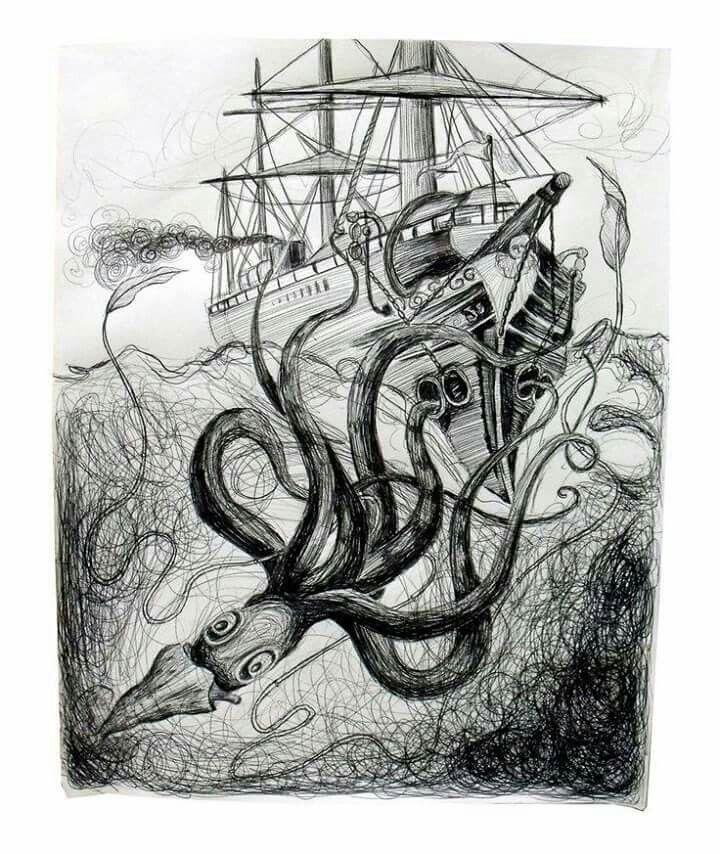 Черно белый рисунок кораблика 026