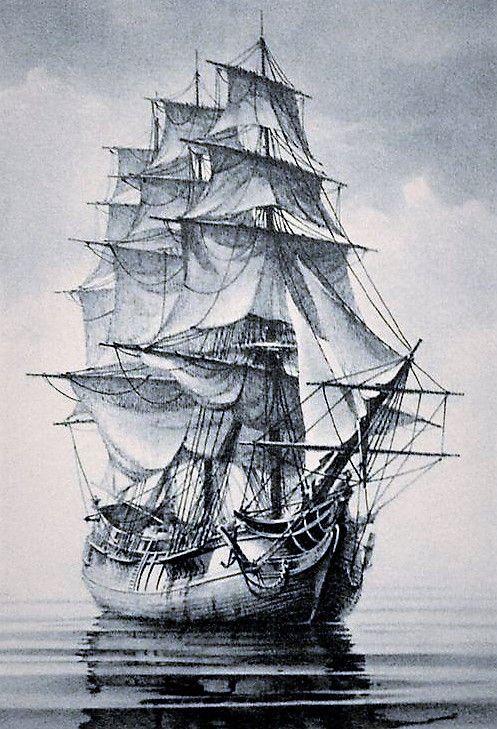 Черно белый рисунок кораблика 027