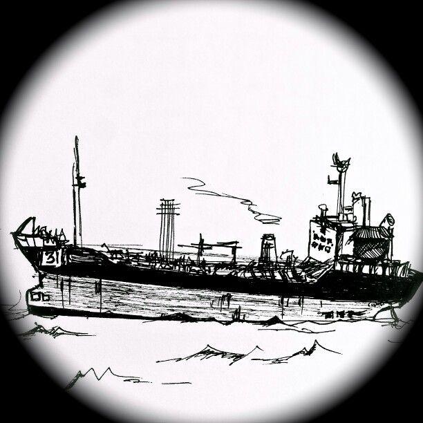 Черно белый рисунок кораблика 029