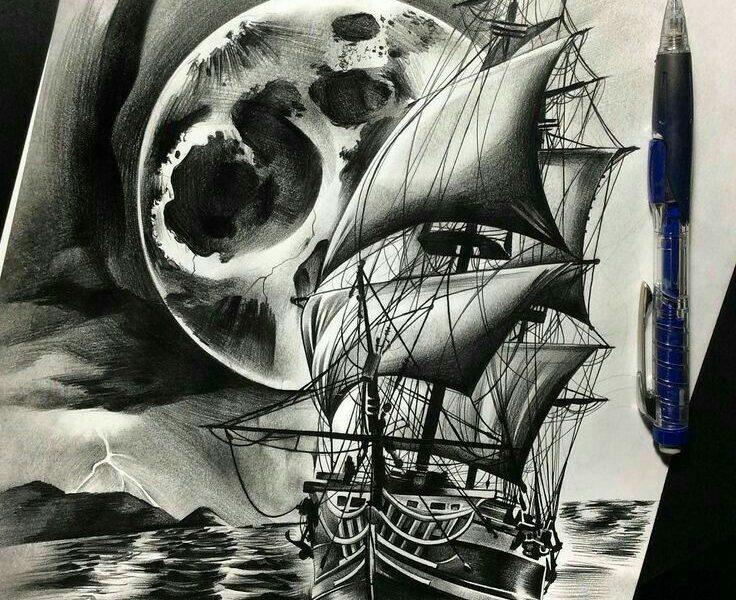 Черно белый рисунок кораблика 030