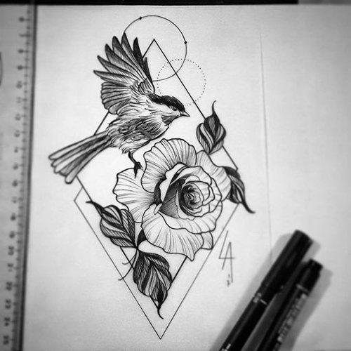 Эскизы тату маленькие птицы 009