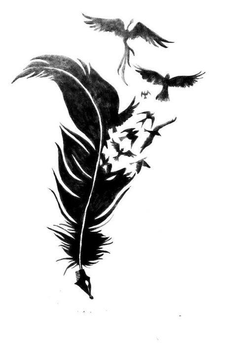 Эскизы тату маленькие птицы 010