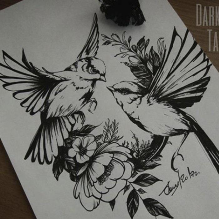 Эскизы тату маленькие птицы 018
