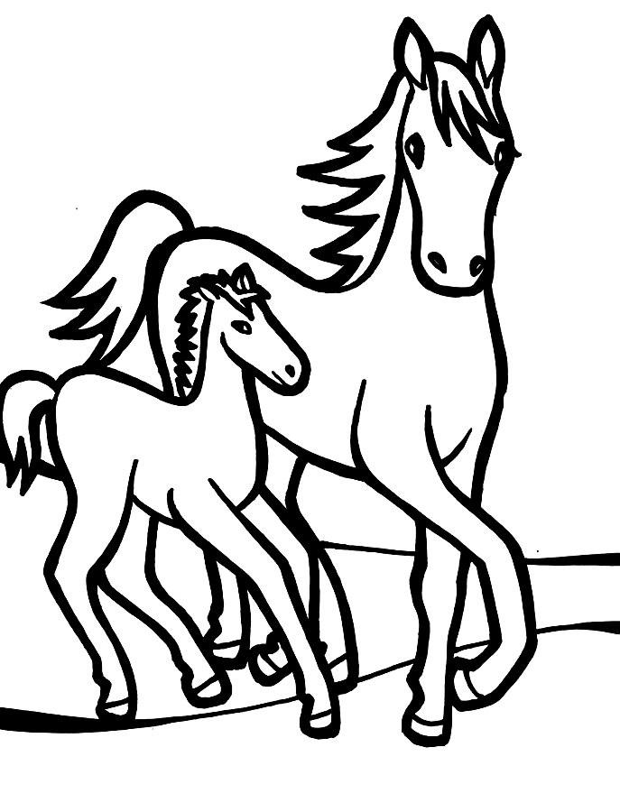Рисунки лошадей для раскраски 002