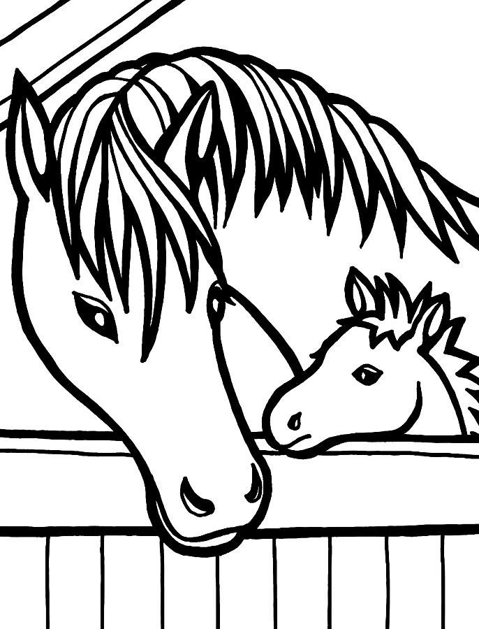 Рисунки лошадей для раскраски 014