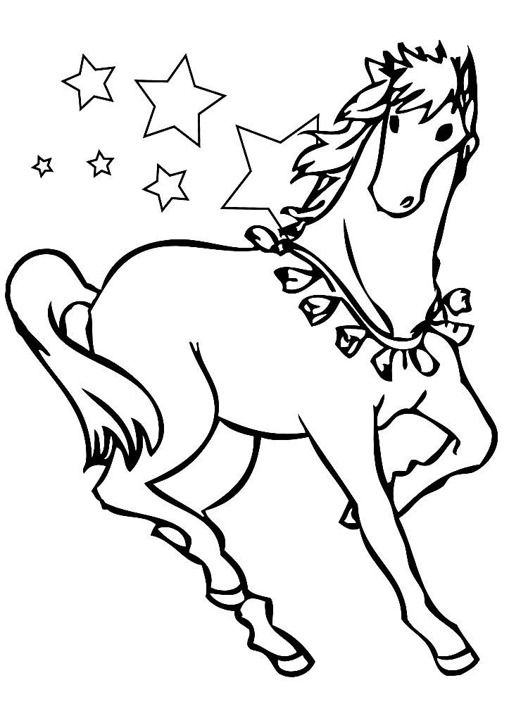 Рисунки лошадей для раскраски 017