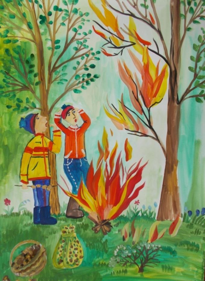 Поучительные картинки берегите лес от пожара 002