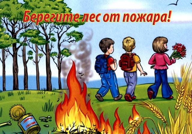 Поучительные картинки берегите лес от пожара 009