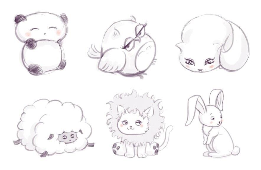 Картинки милые звери для срисовки 021