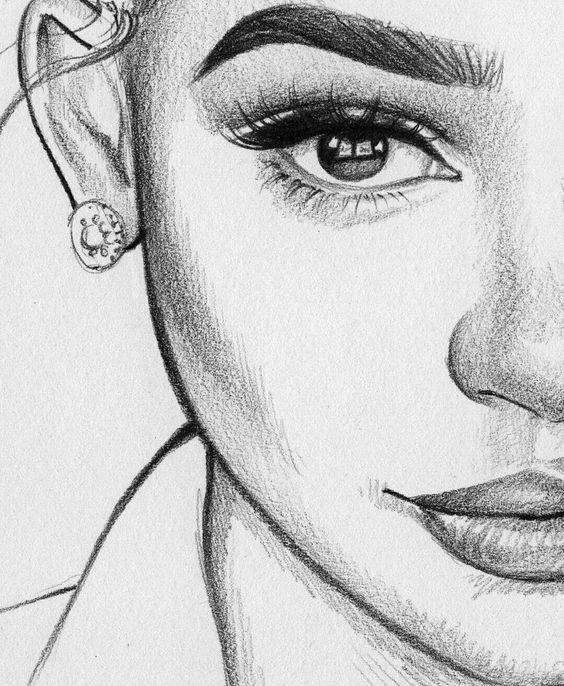 Рисунки лица девушек карандашом для срисовки 001