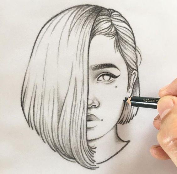 Рисунки лица девушек карандашом для срисовки 002