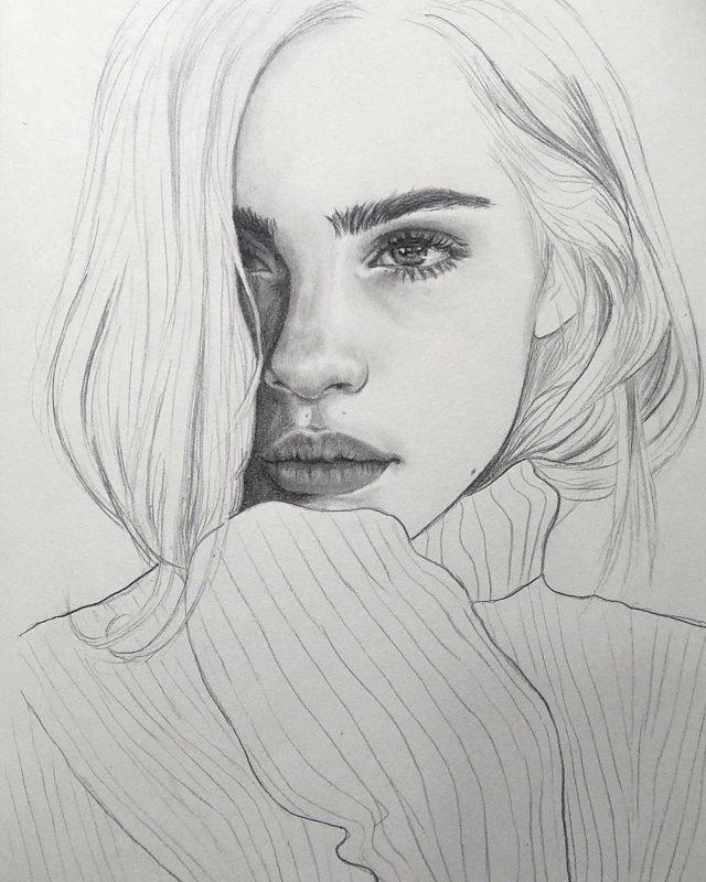 Рисунки лица девушек карандашом для срисовки 003